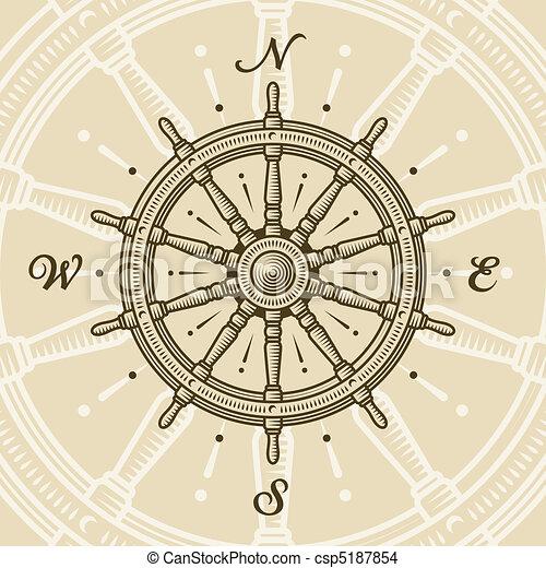 Vintage ship wheel - csp5187854