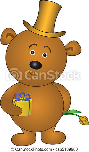 Bear with flower in cylinder - csp5189980