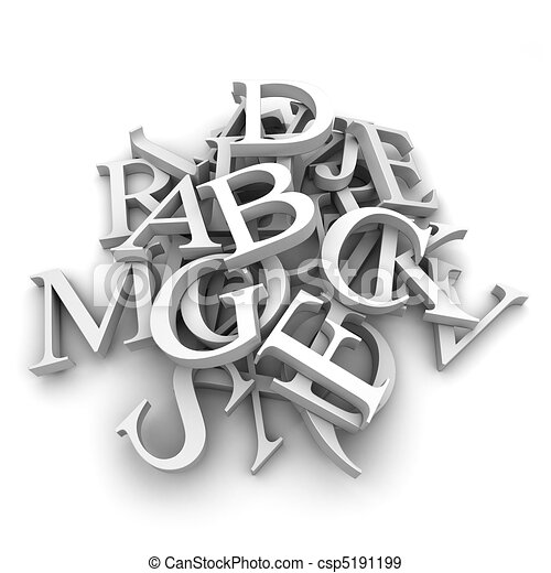 Alphabet letters poured in a heap - csp5191199