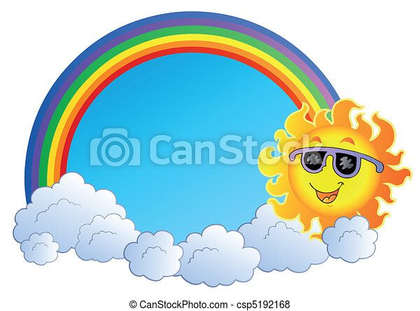 Rainbow with Sun and clouds - csp5192168