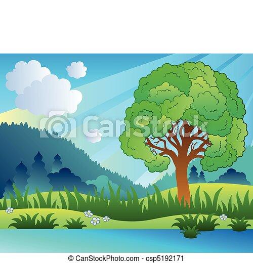 Clipart vettoriali di frondoso albero lago paesaggio for Lago disegno