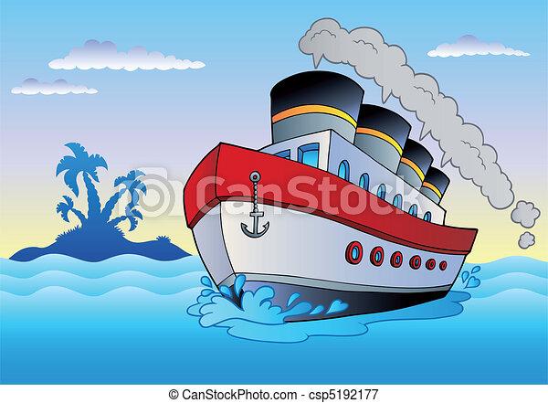 Steamship sailing in sea - csp5192177