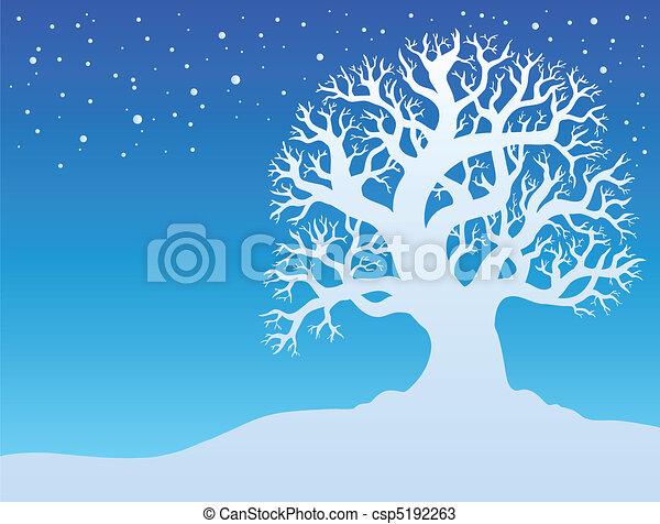 Winter tree with snow 2 - csp5192263