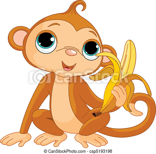 Funny Monkey with banana - csp5193198