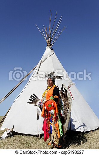 American Indian in Front of Tee Pee - csp5193227