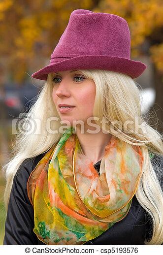 woman with a beautiful headdress - csp5193576