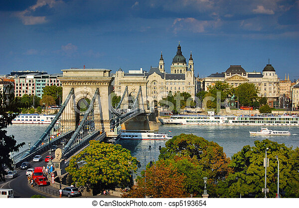 The famous Chain bridge in Budapest - csp5193654