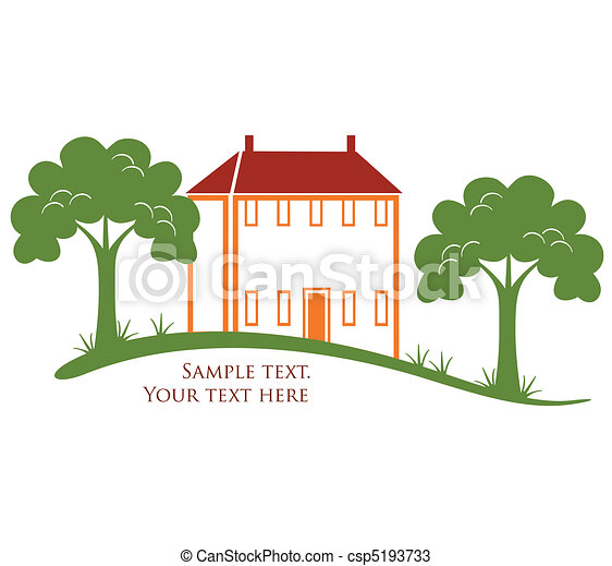 Modern house with trees and grass in vector format - csp5193733
