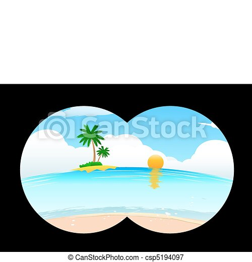 sea beach in binocular view - csp5194097