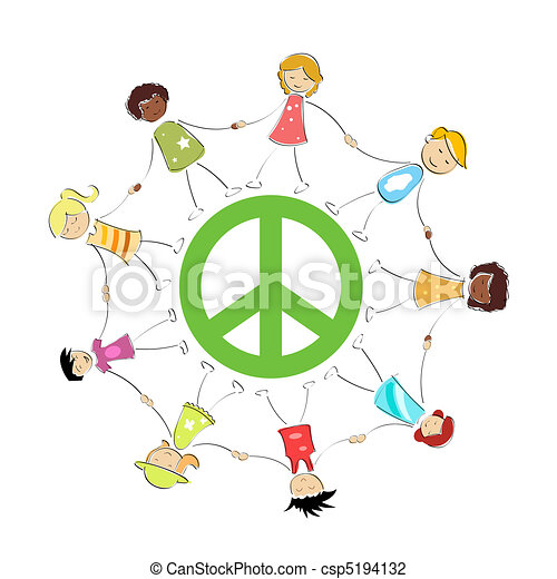 peace sign with kids - csp5194132