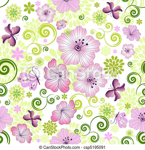 Spring repeating white floral pattern - csp5195091