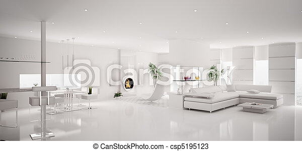 Interior of modern white apartment panorama 3d render - csp5195123