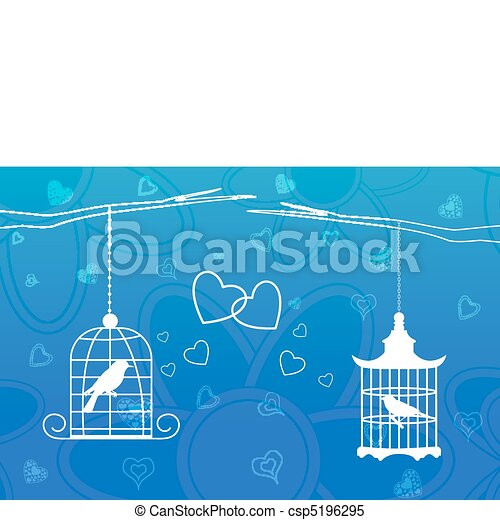love birds in cage - csp5196295