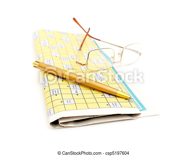 Glasses, Pen And Mutual Funds On Newspaper - csp5197604