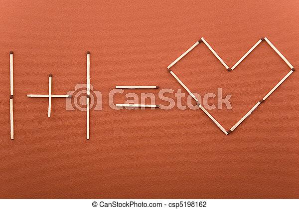 stock foto von eins plus eins gleich liebe gemacht streichhoelzer csp5198162 suchen sie. Black Bedroom Furniture Sets. Home Design Ideas