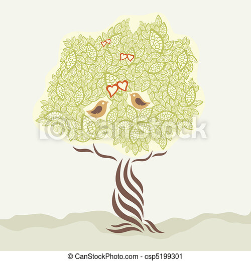 Two love birds and stylized tree - csp5199301