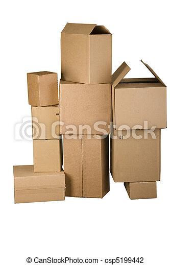 Brown different cardboard boxes arranged in stack - csp5199442