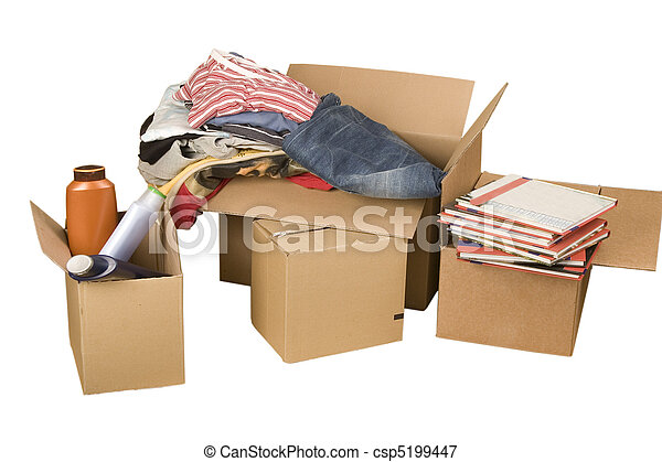transport cardboard boxes with books and clothes - csp5199447