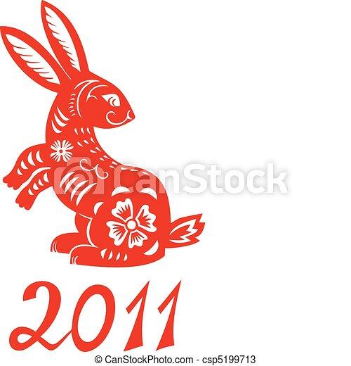 Chinese Zodiac of Rabbit Year. - csp5199713