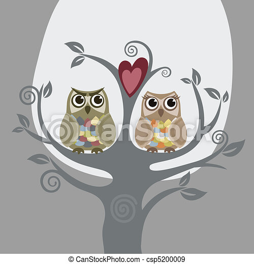 Two owls and love tree - csp5200009