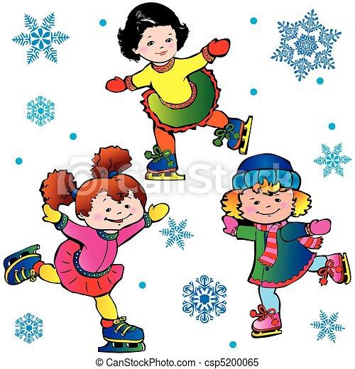 Vecteur clipart de patinage sur glace heureux enfance vecteur csp5200065 recherchez des - Dessin patinoire ...