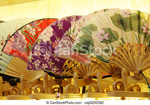 Traditional Chinese Fans for sale in Souvenir Shop. Shanghai China - csp5200392