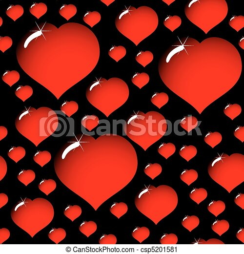 abstract elegance black background with hearts - csp5201581