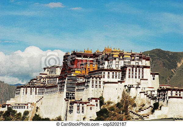 Landmarks of the Potala Palace in Lhasa Tibet - csp5202187