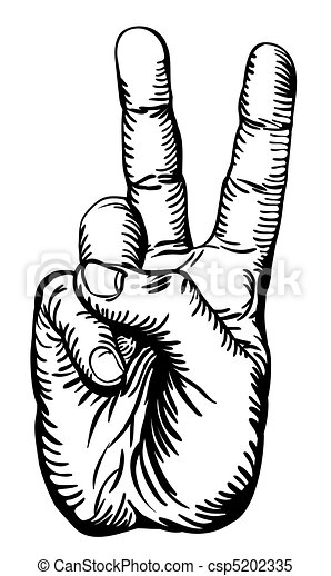 victory salute or peace sign - csp5202335
