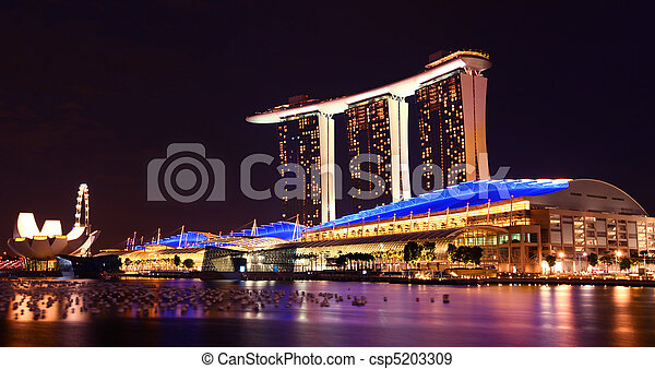 Singapore Marina Bay Sands By Night - csp5203309