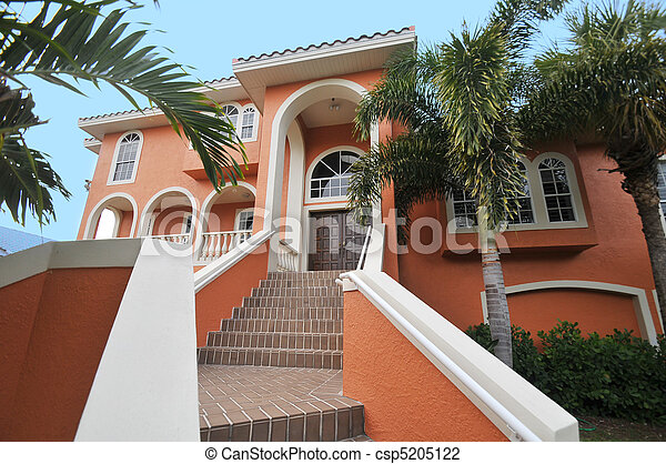 Stairway to elegant mansion - csp5205122