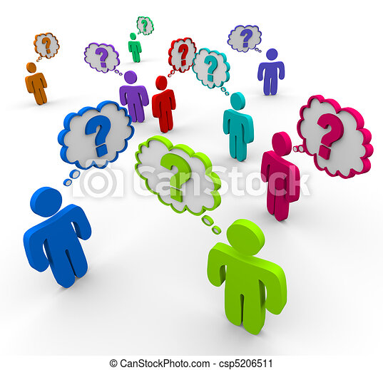 Many People Thinking of Questions - csp5206511