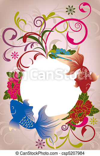 Abstract oriental floral card - csp5207984