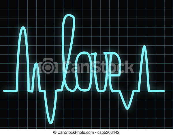 Clip Art of Love in the heart - Electrocardiogram showing ... | 450 x 357 jpeg 27kB