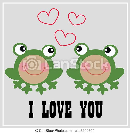 Two Frogs in Love i Love You Card With Two Cute