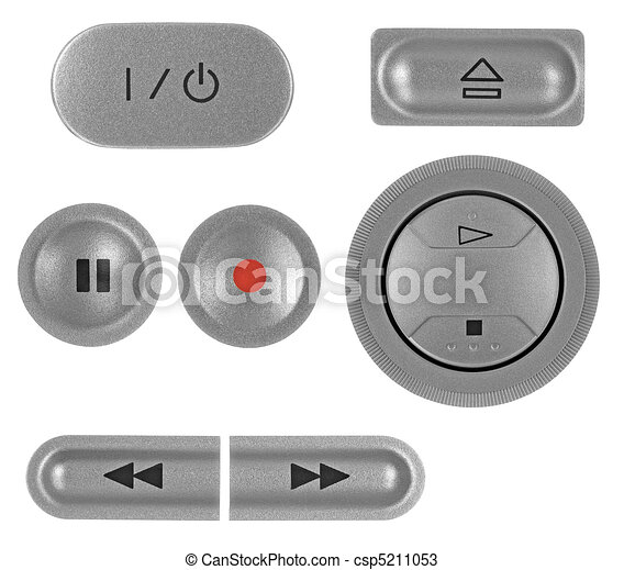 Natural silver grey metallic DVD recorder buttons set, isolated macro closeup - csp5211053