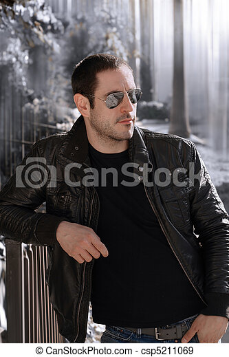 Leather jacket guy - csp5211069