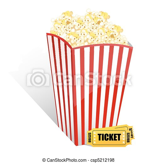 popcorn with movie tickets - csp5212198