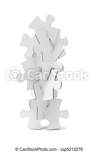 Interlocking pieces of jigsaw puzzles tower - csp5212276