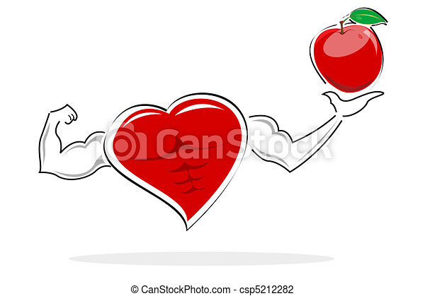 healthy heart holding apple - csp5212282
