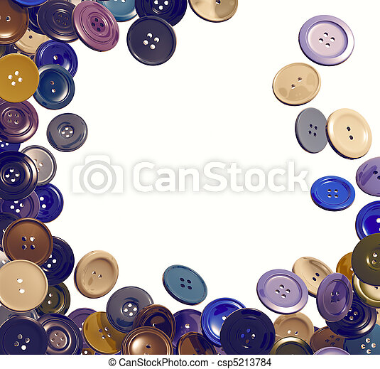 Cloth buttons falling frame. 3d - csp5213784