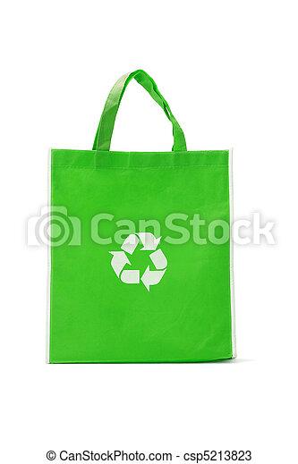 Green reusable shopping bag - csp5213823