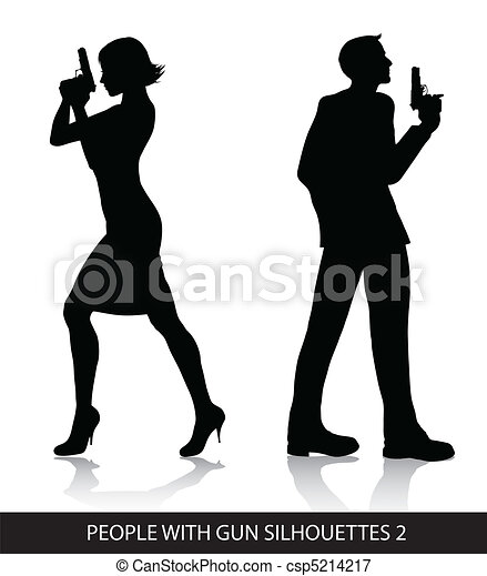 People with gun silhouettes - csp5214217