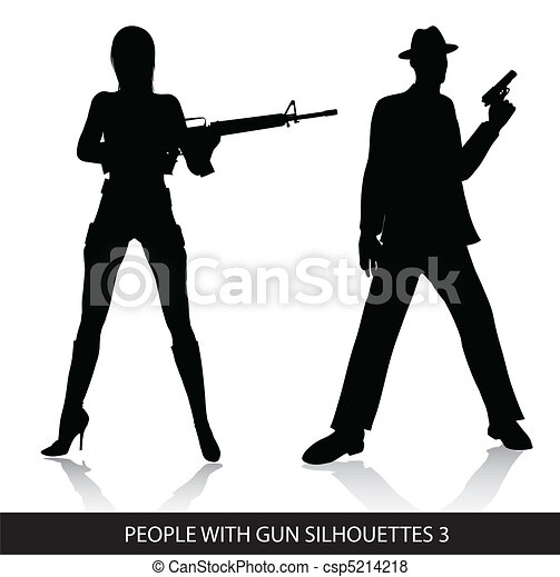 People with gun silhouettes - csp5214218