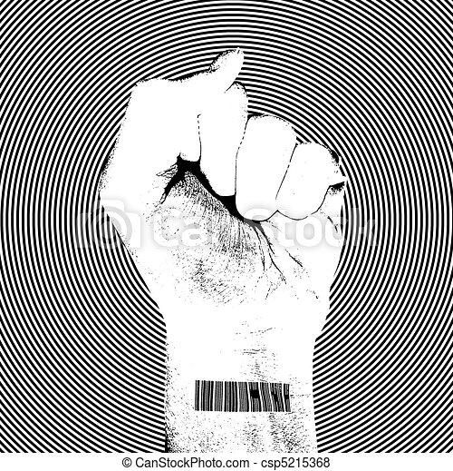 Raising Fist with Barcode - csp5215368