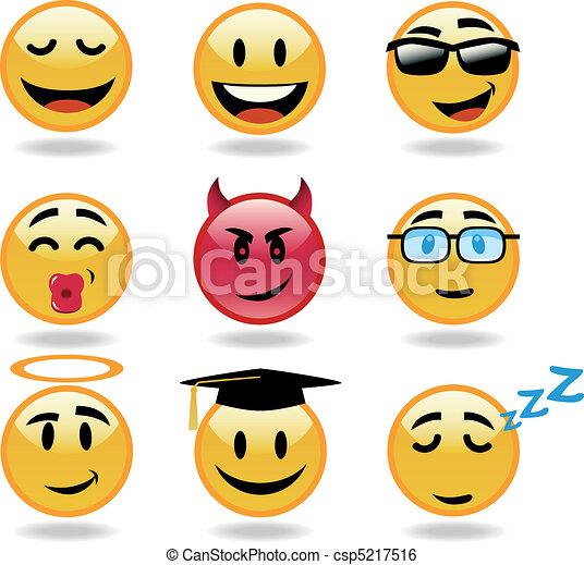 Set of vector cool smiles - csp5217516