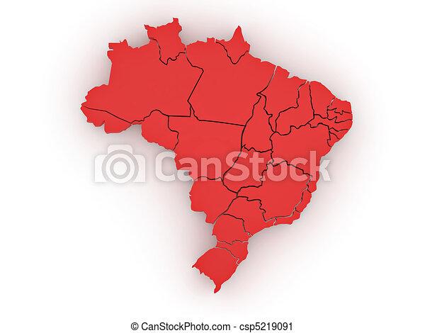 Three-dimensional map of Brazil. 3d - csp5219091