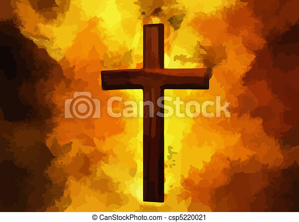 Flaming Cross Christian Art(Vector) - csp5220021