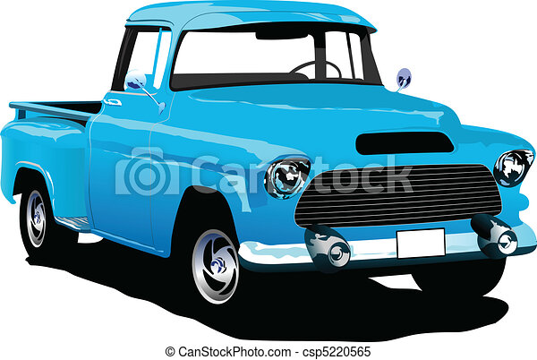 Old blue pickup with badges remove - csp5220565