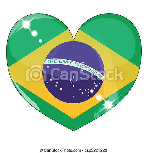 Vector heart with brazil  flag texture - csp5221220